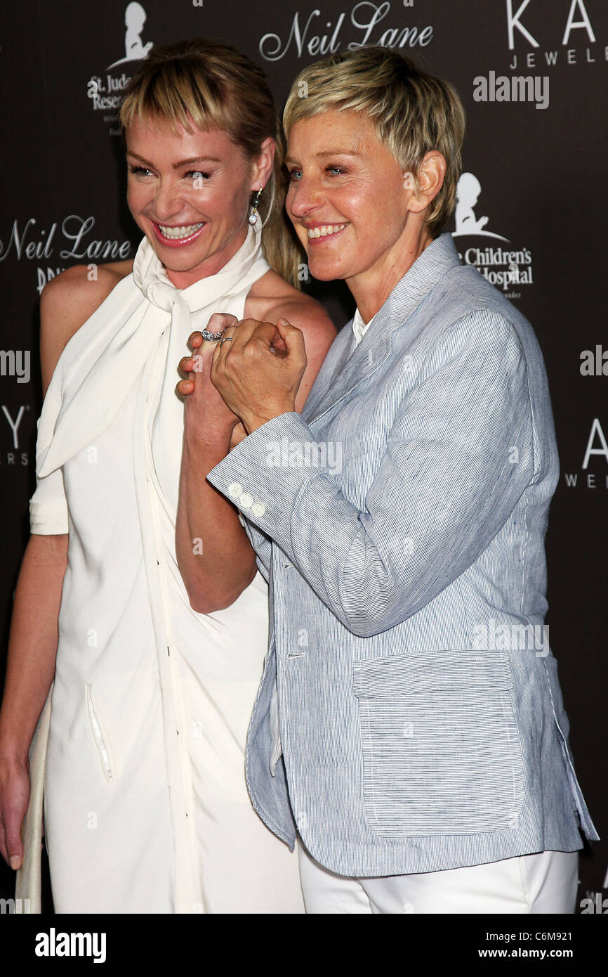 Portia DeRossi Ellen DeGeneres show off their wedding rings as