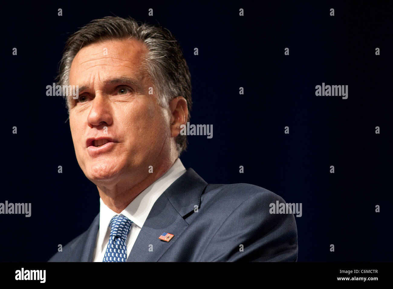 Republican Presidential hopeful Mitt Romney speaking at the Veteran's of Foreign Wars conference in San Antonio, - Stock Image