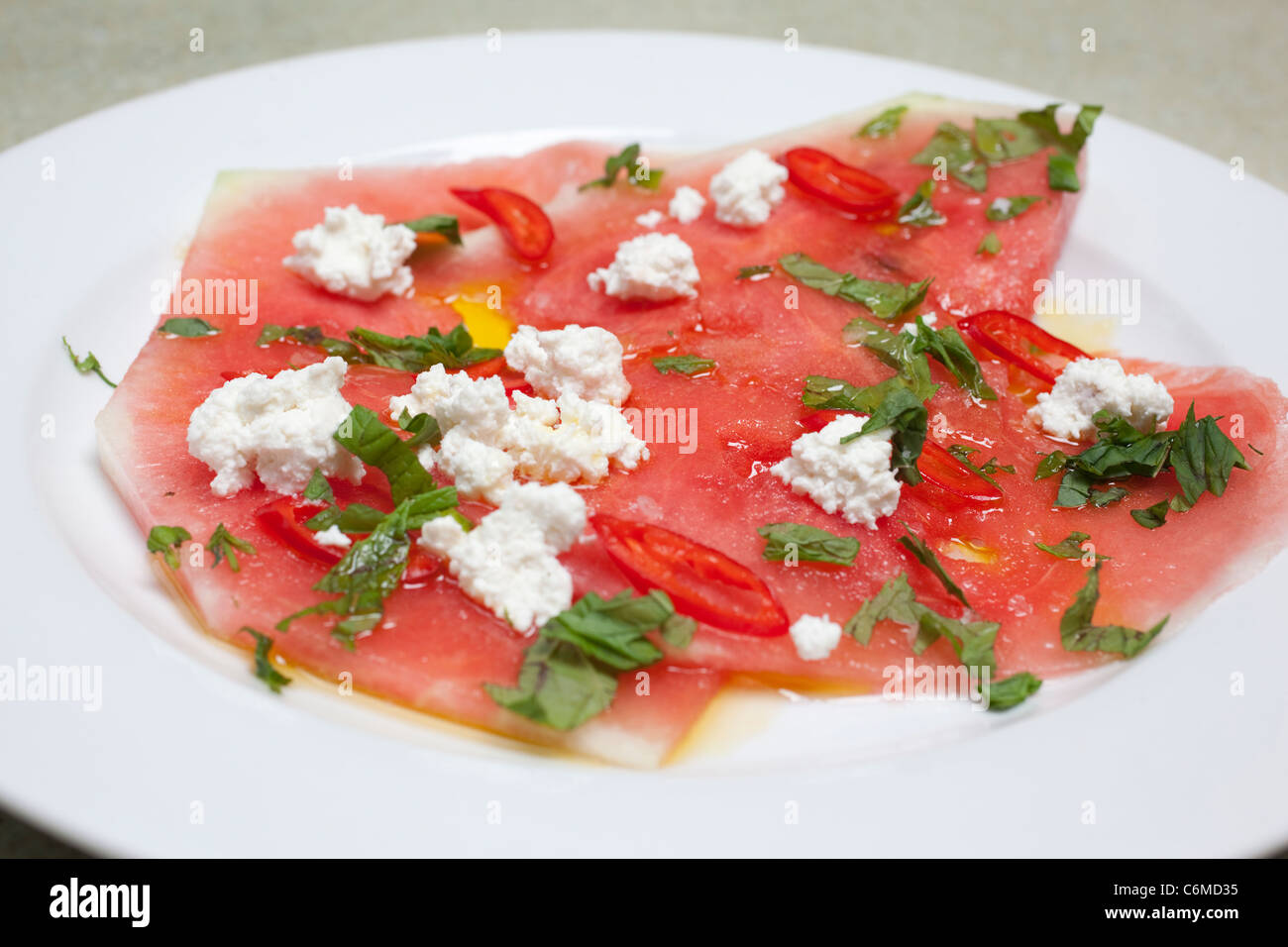 Watermelon, mint, feta and chilli salad recipe. Photo:Jeff Gilbert - Stock Image