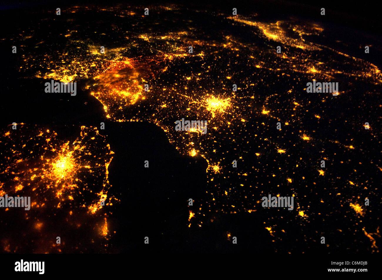 Europe at night, northwestern Europe - Stock Image