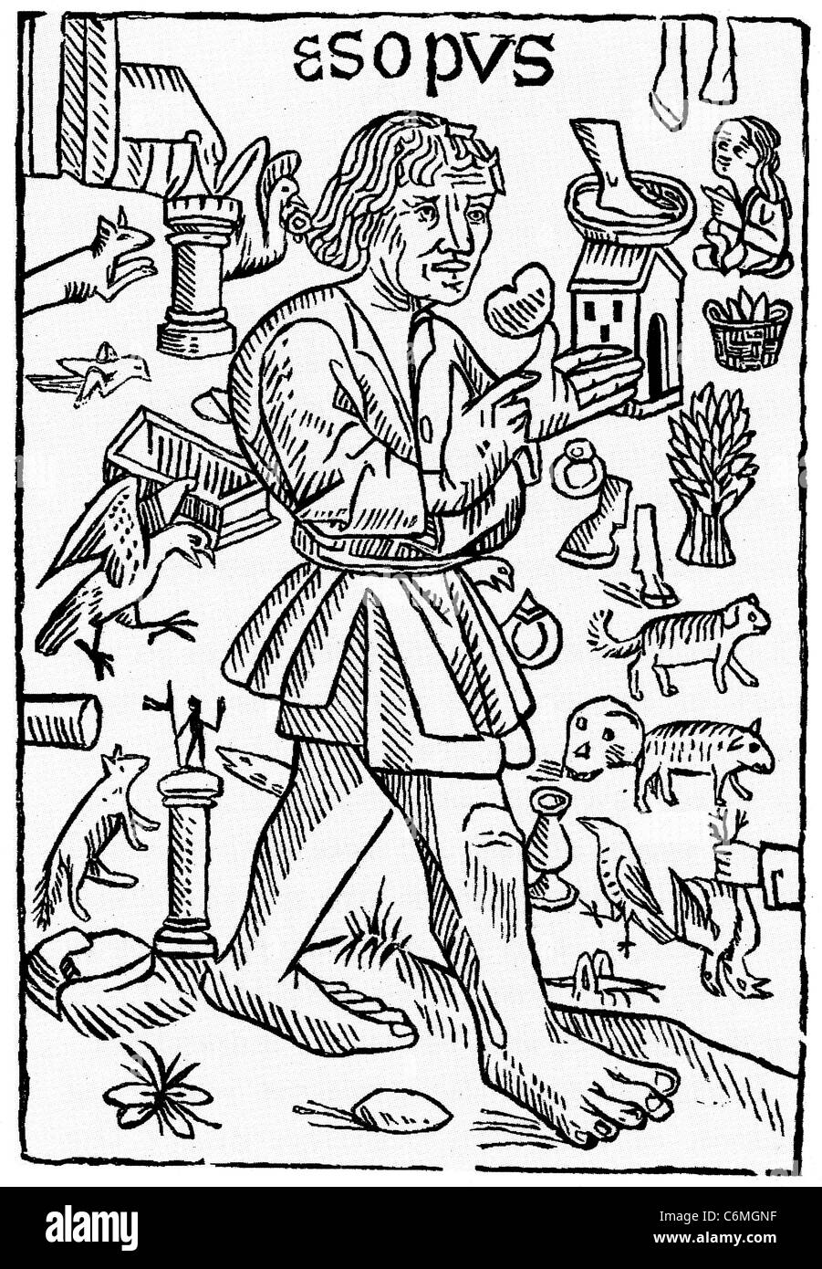 AESOP'S FABLES Frontespiece to the William Caxton's 1484 English translation from a French version - Stock Image