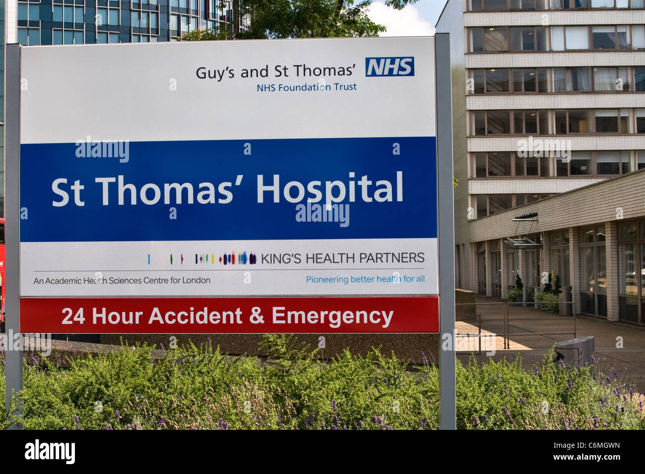 Guy's and St Thomas' hospital sign, Westminster London UK - Stock Image