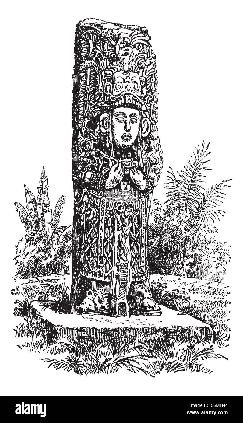 Copan Monolith in Honduras, during the 1890s,vintage engraving. Old engraved illustration of a Copan Monolith. - Stock Image