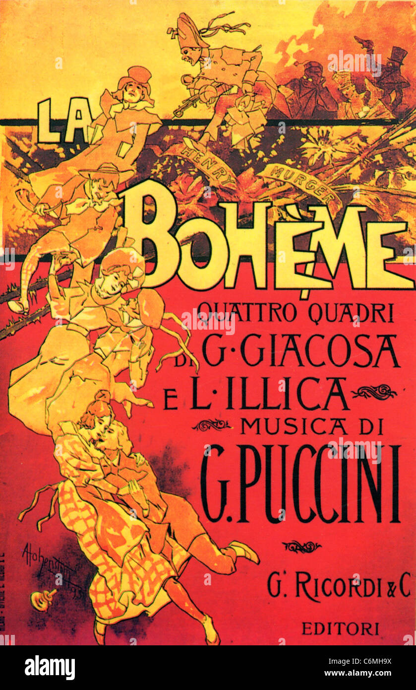 LA BOHEME  Cover for score of Puccini's 1896 opera - Stock Image