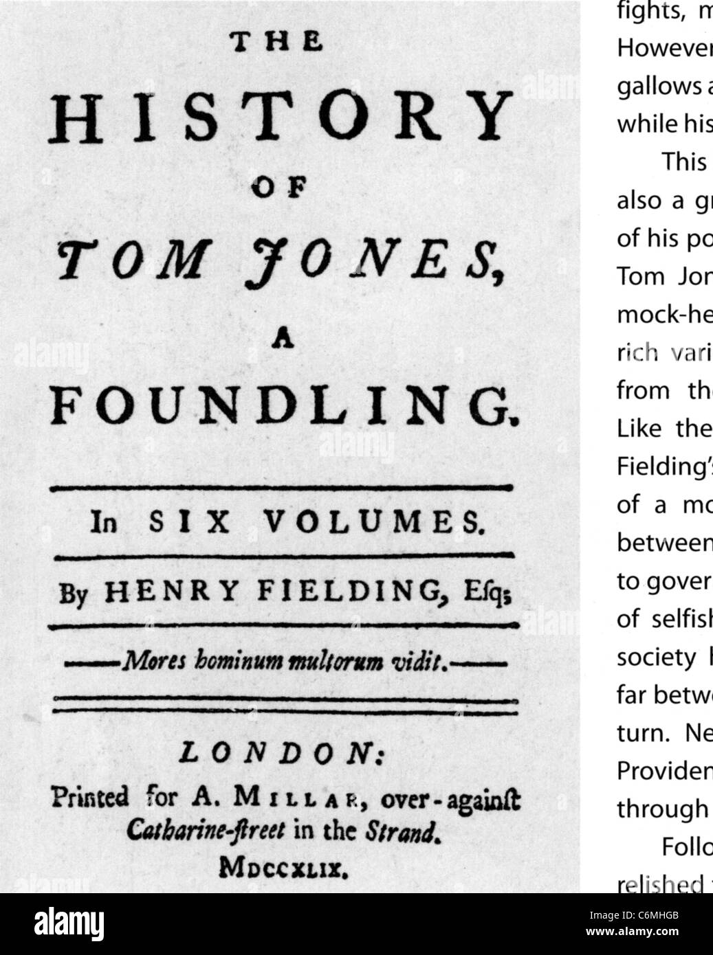 TOM JONES  by Henry Fielding. Title page of the 1749 edition in six volumes - Stock Image