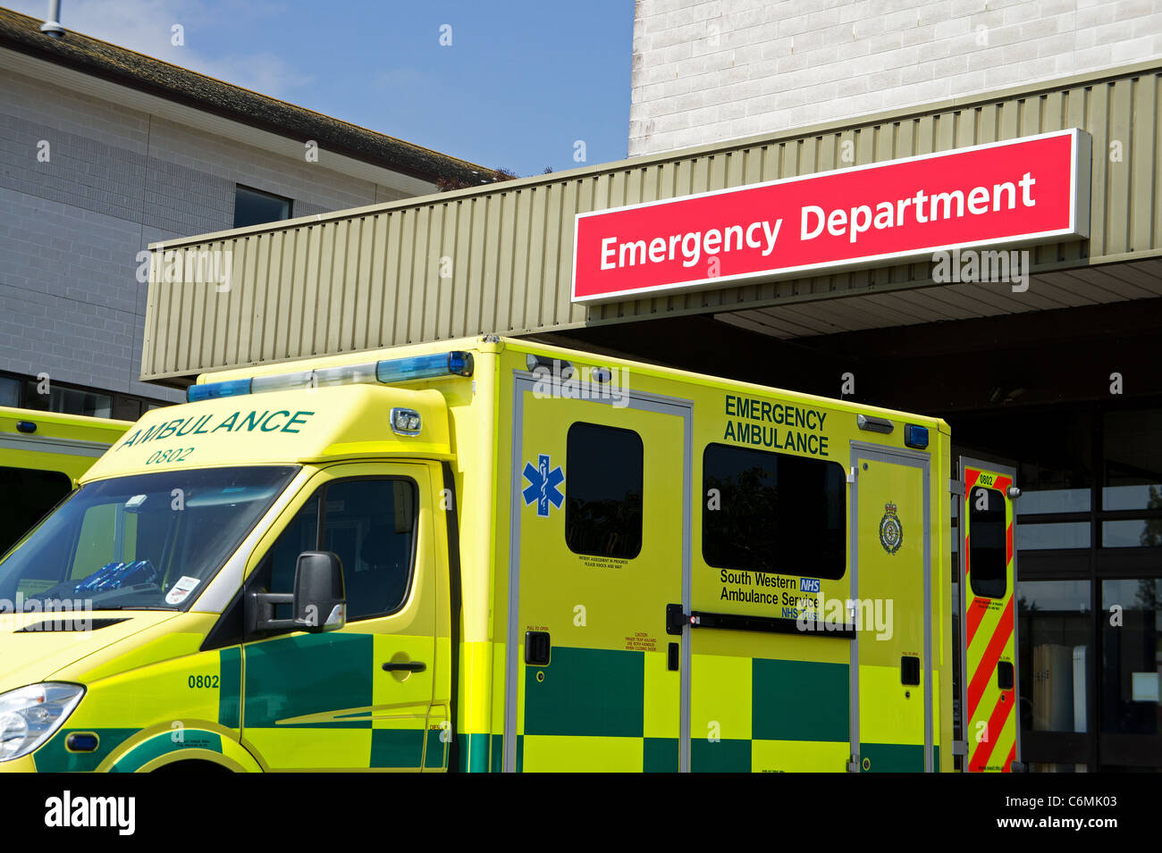An ambulance outside the accident and emergency department at the royal cornwall hospital, truro, cornwall, uk - Stock Image