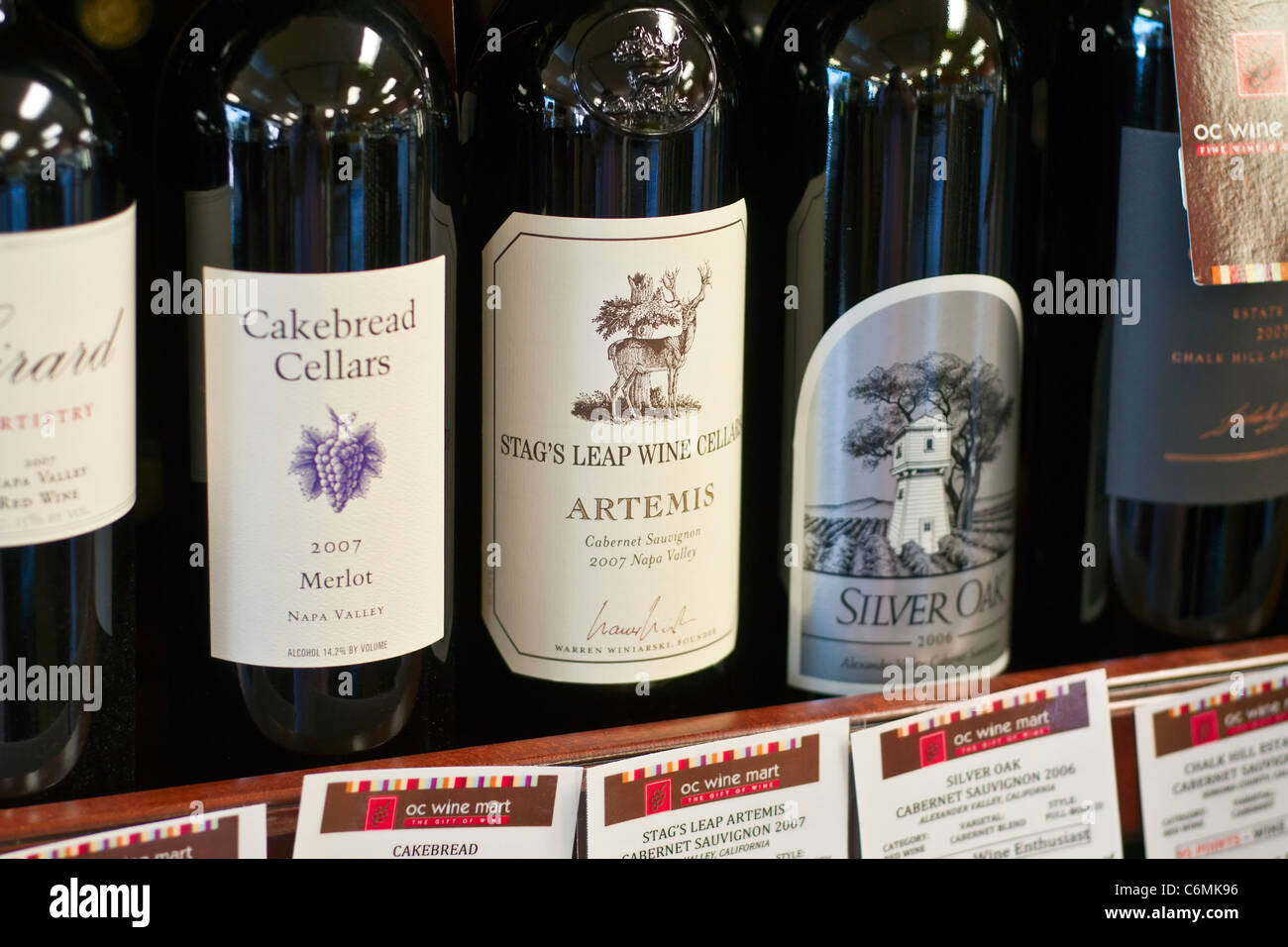Wines selection sold at a Wine Store. - Stock Image