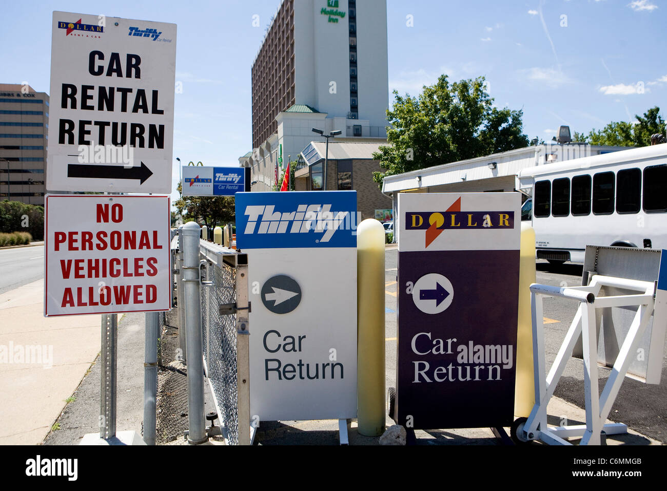 A Dollar Thrifty Car Rental center.  - Stock Image
