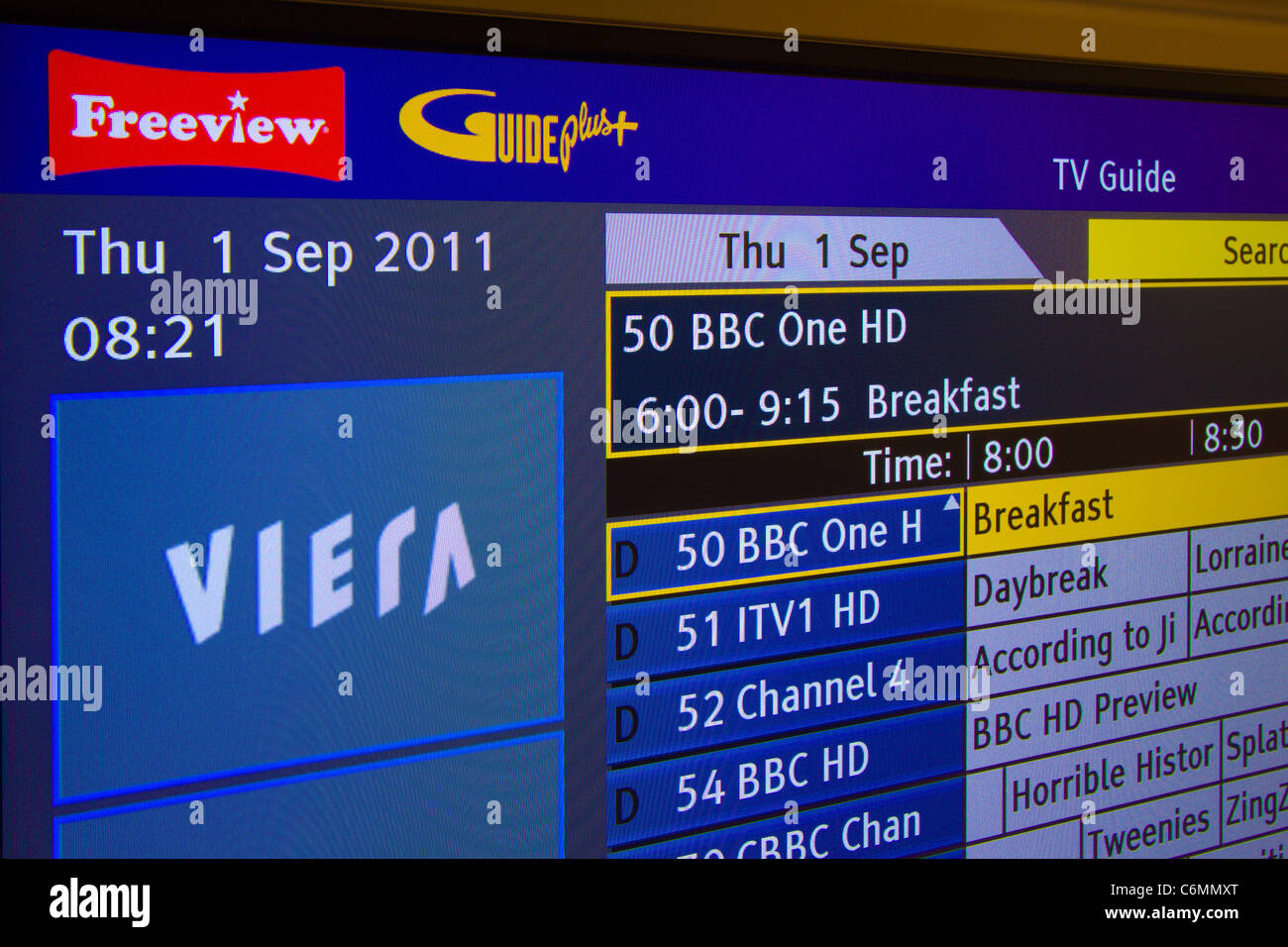 T. V guide freeview.
