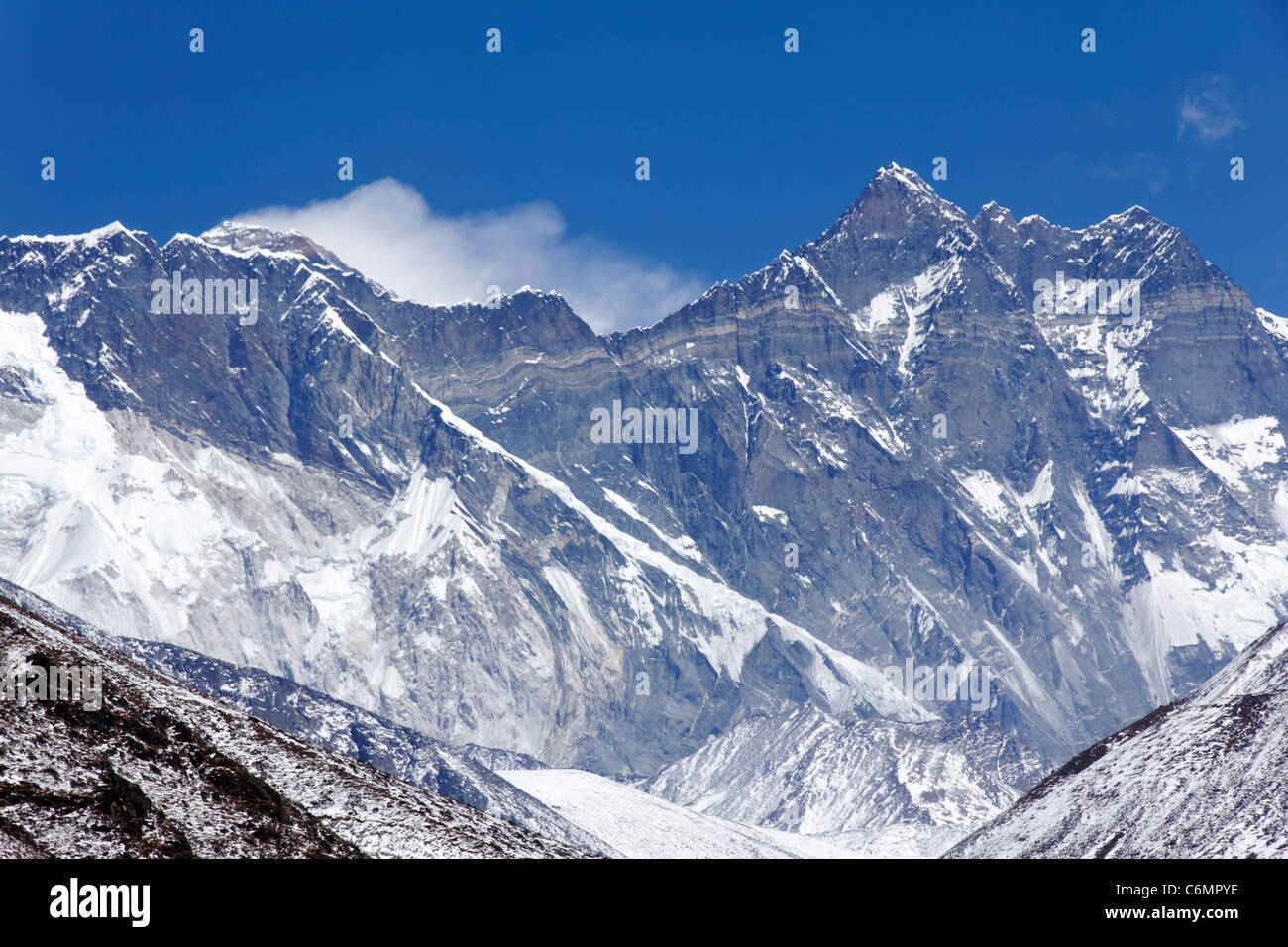 Lhotse and Nuptse mountains with the plume blowing from the summit of Everest behind them, Nepal - Stock Image