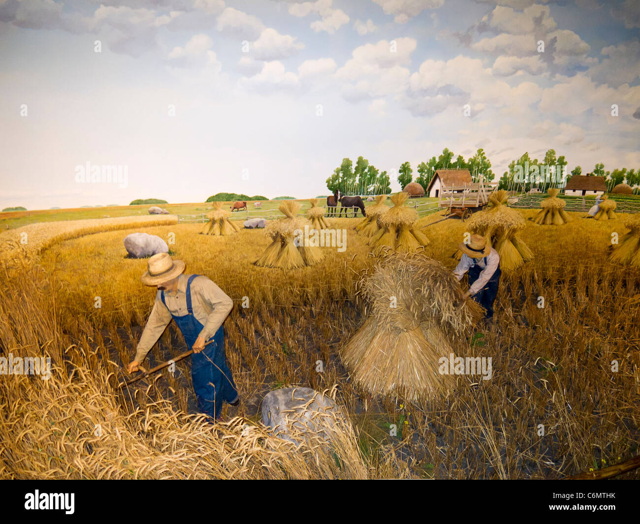 Diorama in Manitoba Museum of early pioneering farmers harvesting on the Canadian plains. Here, a Ukrainian family - Stock Image