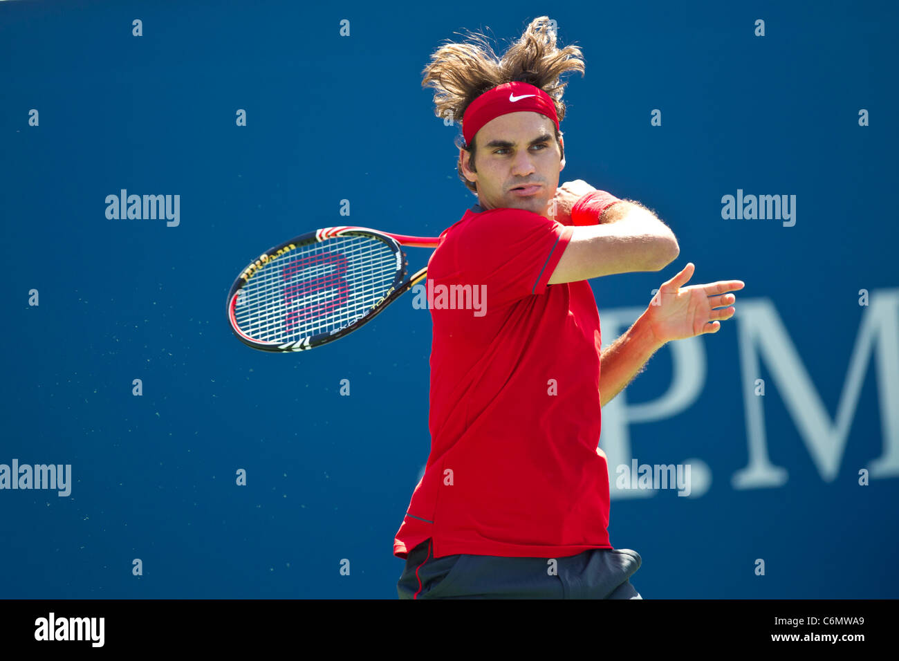 Roger Federer (SUI) competing at the 2011 US Open Tennis. - Stock Image