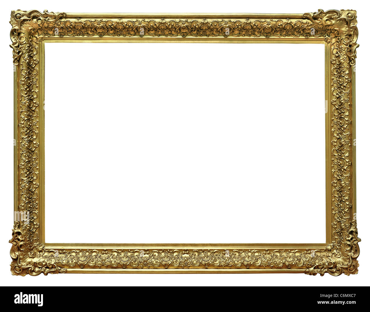 Gold frame isolated over white background - With clipping path - Stock Image