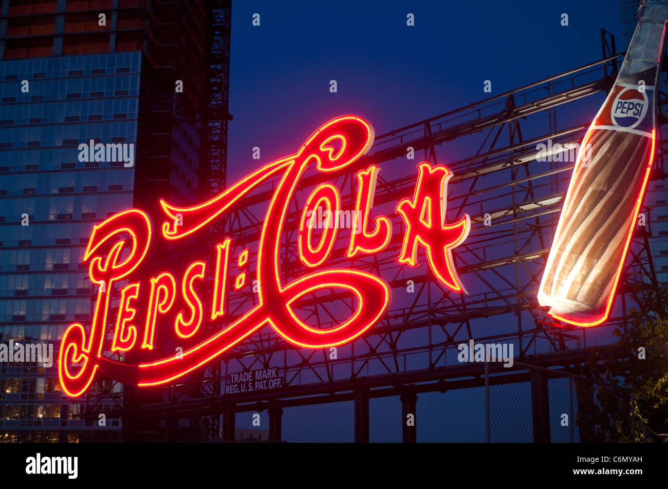 New York, NY - 30 August 2011 Pepsi Cola sign, Gantry Plaza - Stock Image