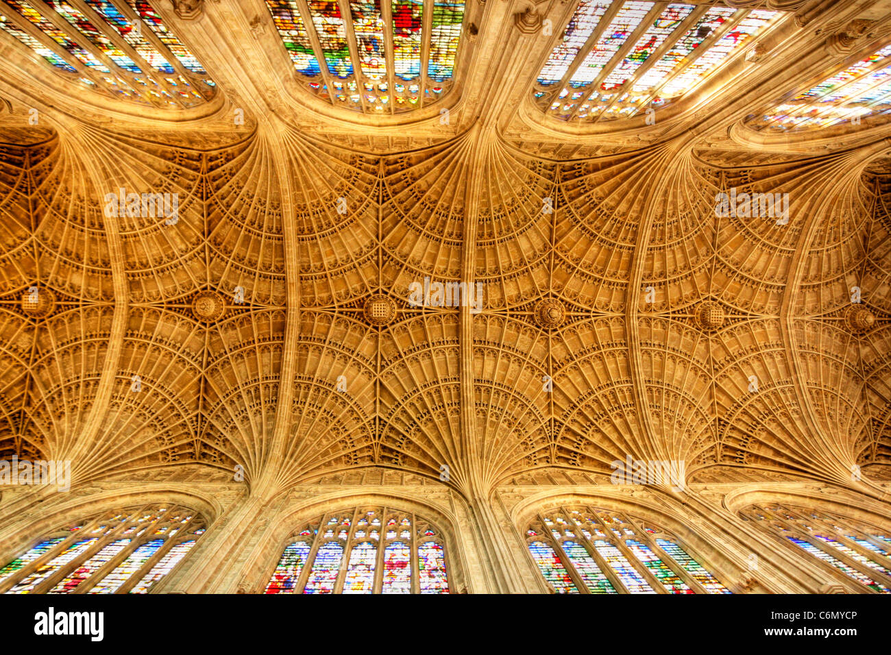 View from below of the fan vaulted ceiling at Kings college, Cambridge University - Stock Image
