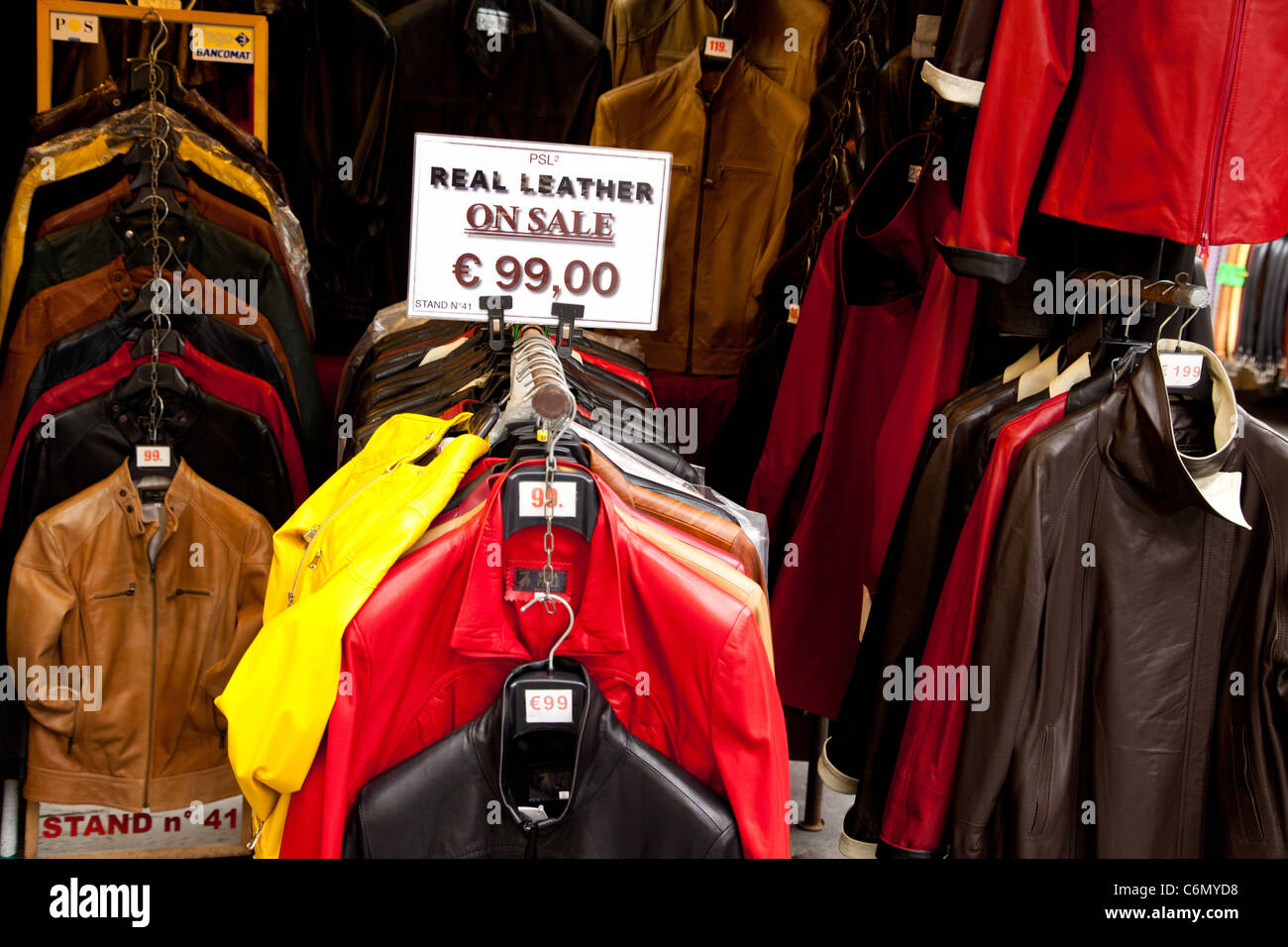 Leather Jackets Displayed At The Leather Market In Florence Italy