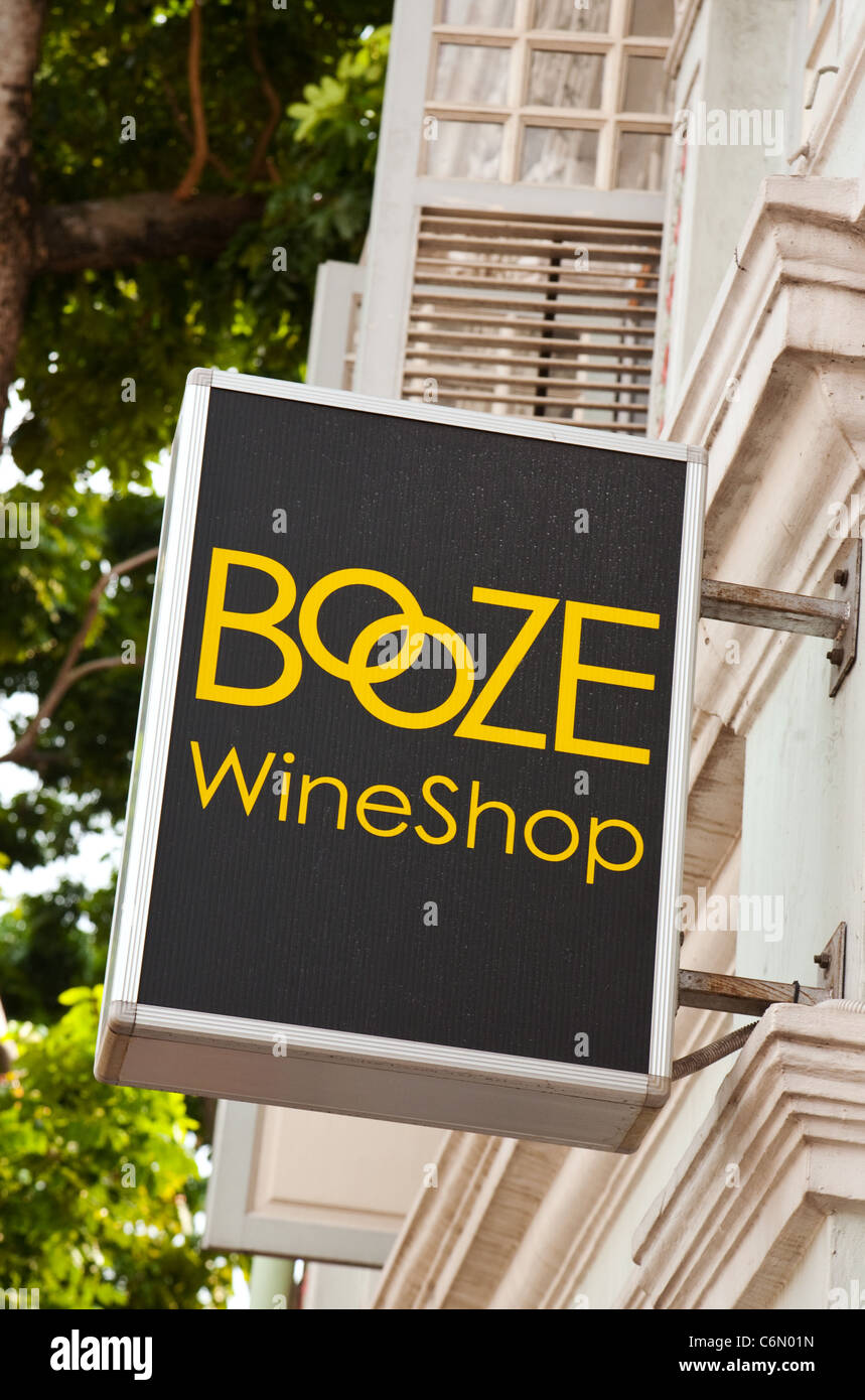 Sign for the Booze wineshop, Singapore Asia - Stock Image