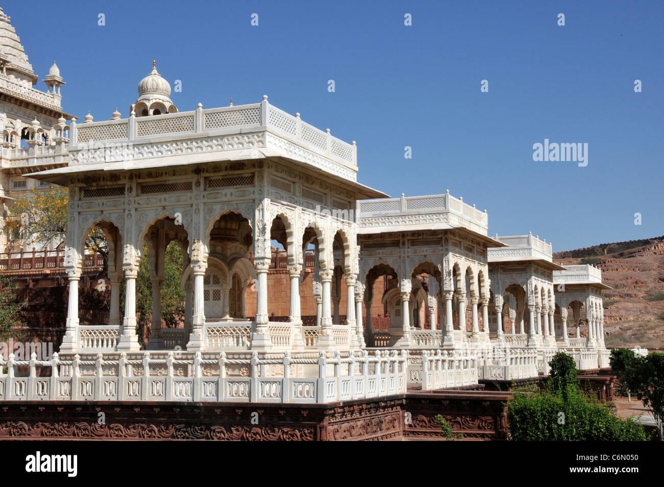 Four cenotaphs Jaswant Thada Jodhpur Rajasthan India - Stock Image