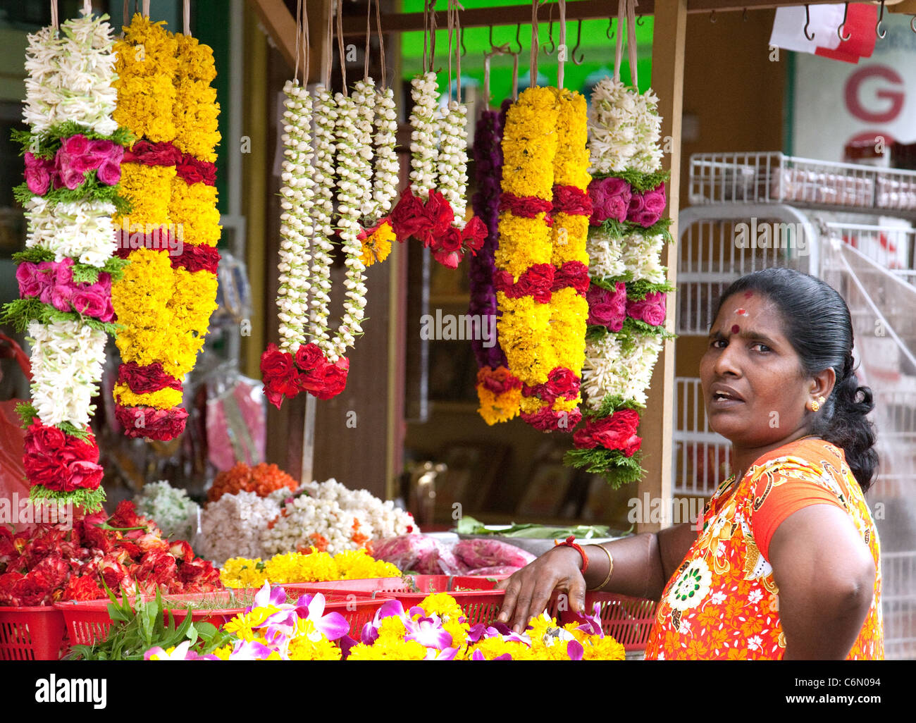 Indian woman shopkeeper, Little India, Singapore Asia - Stock Image