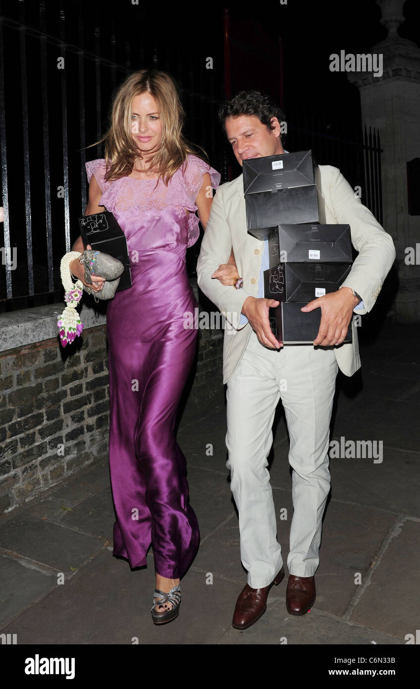 Trinny Woodall and Stefano Bonfiglio Elephant Parade - auction held at the Royal Hospital Chelsea - departures London, - Stock Image
