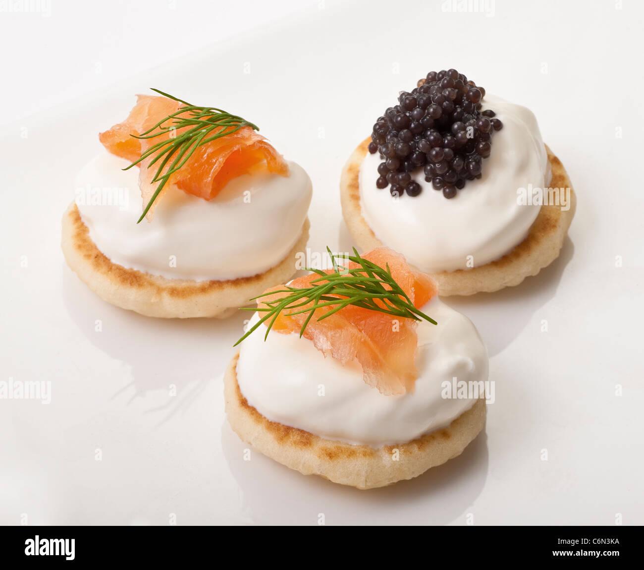 Salmon & Caviar Canapes - Stock Image