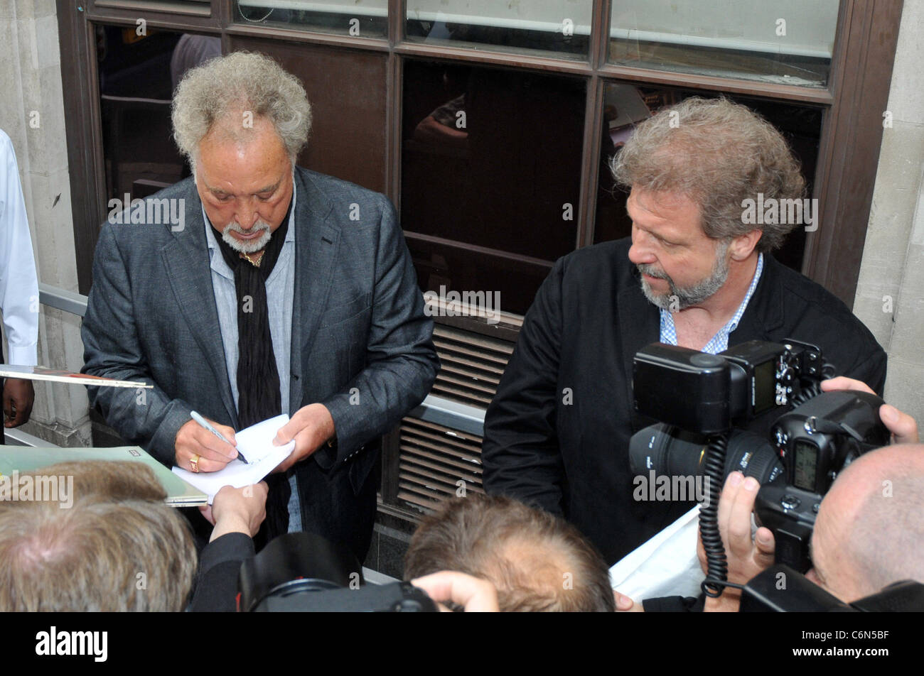 Tom Jones and his son Mark Woodward outside the BBC Radio One