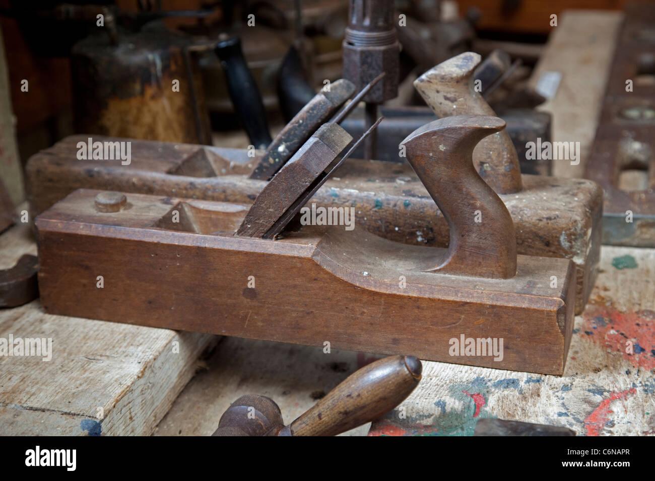 Old wooden carpentry plane Wayside Museum Zennor Cornwall UK - Stock Image