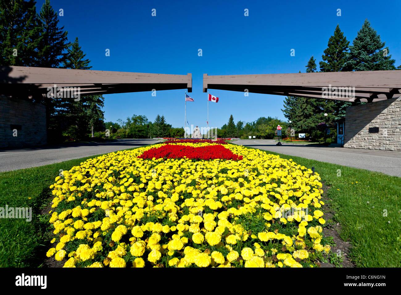 The International Peace Gardens park near Bottineau, North Dakota and Boissevain, Manitoba, Canada