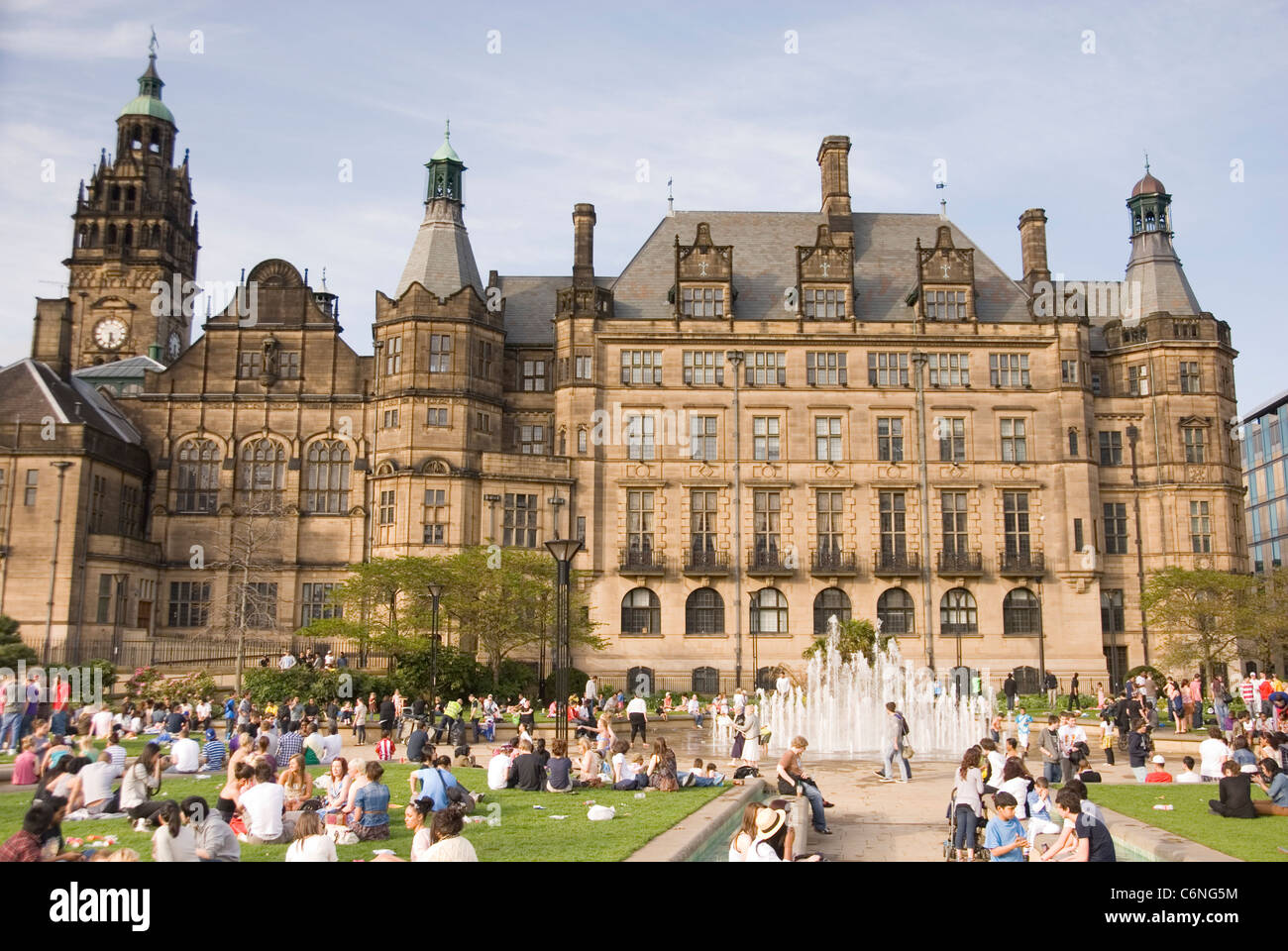 Town Hall & Peace Gardens Crowded with Families Enjoying Sunny Stock ...