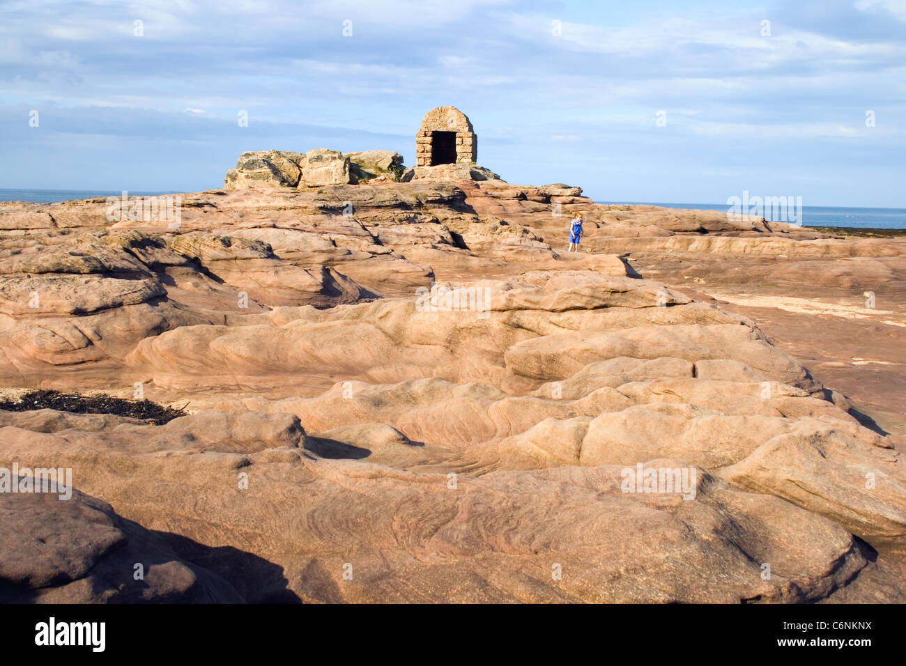 Seahouses, Northumberland, England. Sandstone rock formations. - Stock Image