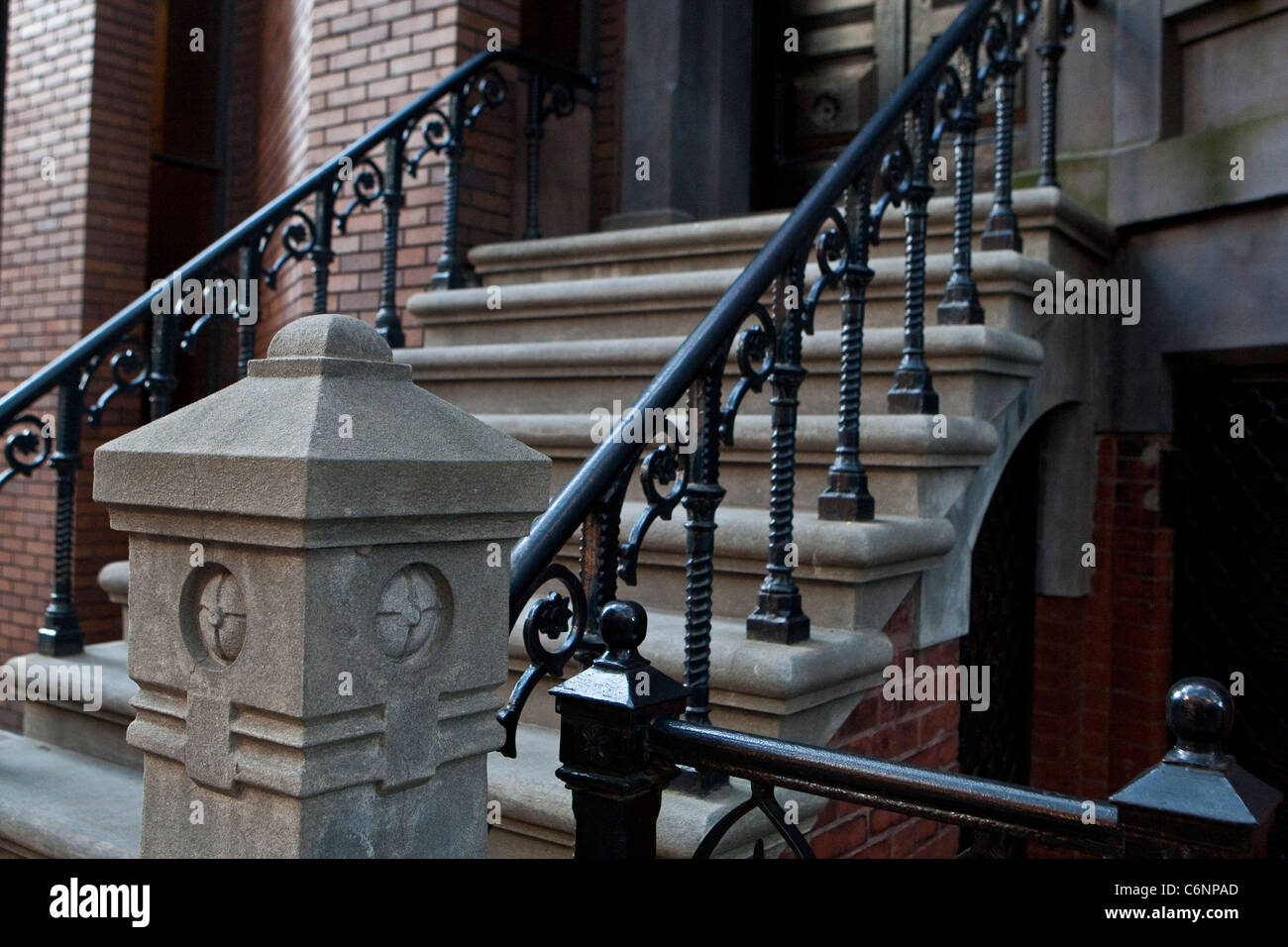 Cast Iron railings is pictured on a Brooklyn Heights building in the New York City borough of Brooklyn - Stock Image