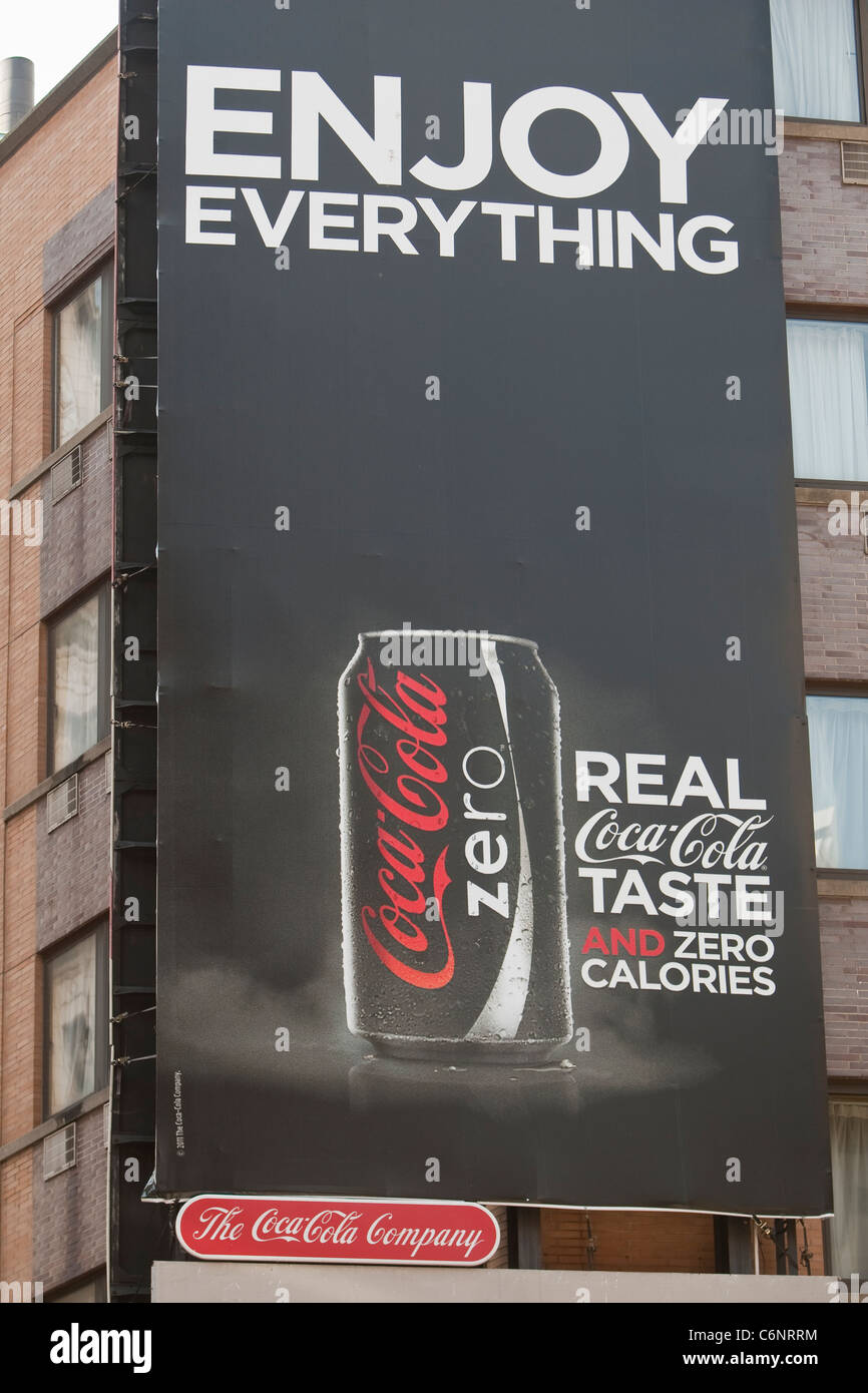 A Coca Cola Zero advertising board is pictured in the New York City borough of Manhattan, NY, Thursday August 4, - Stock Image