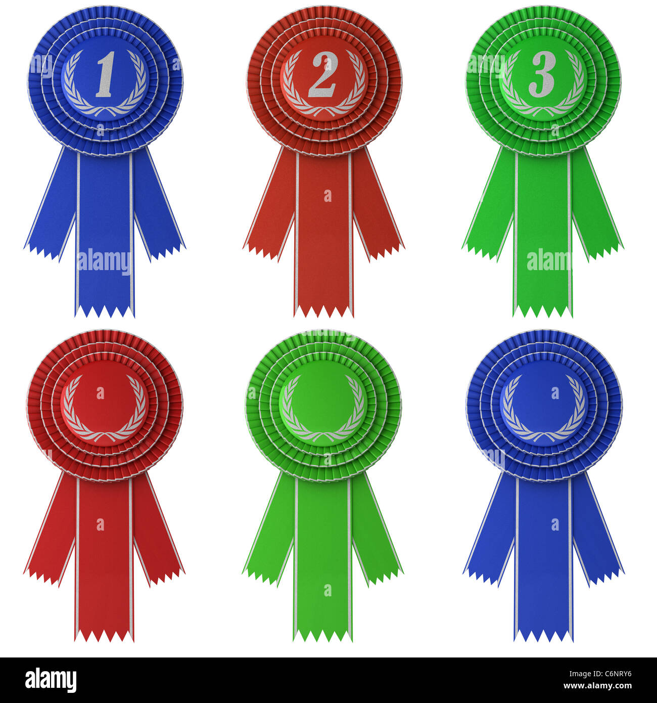 Set of six differently colored award ribbons - Stock Image