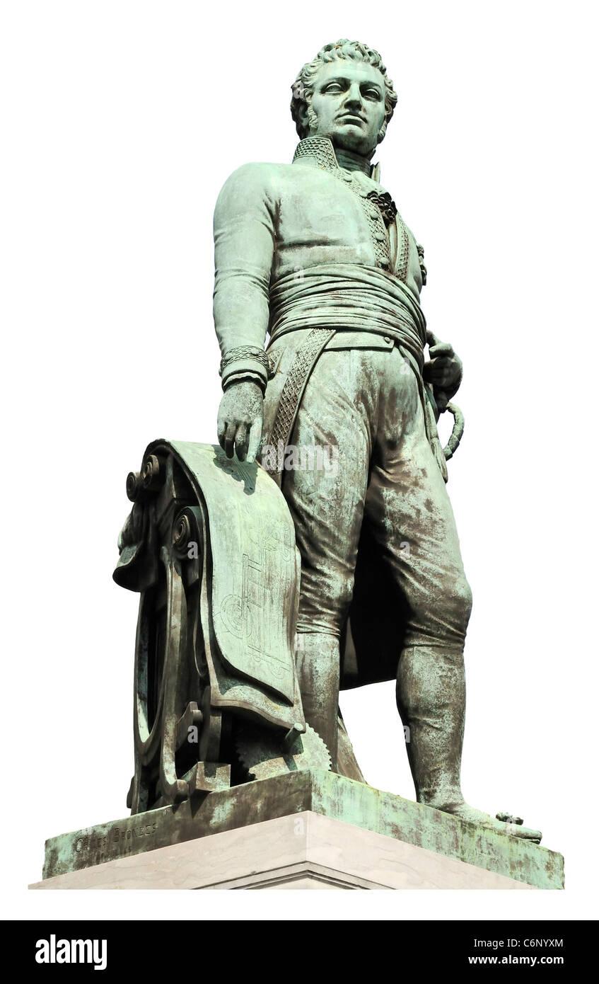 Ghent / Gent, Belgium. Statue of Lieven Bauwens (1769-1822: Belgian Entrepreneur and Industrial Spy) - Stock Image