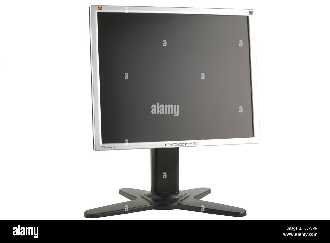 Rotatable Viewsonic LCD screen on a raised stand - Stock Image