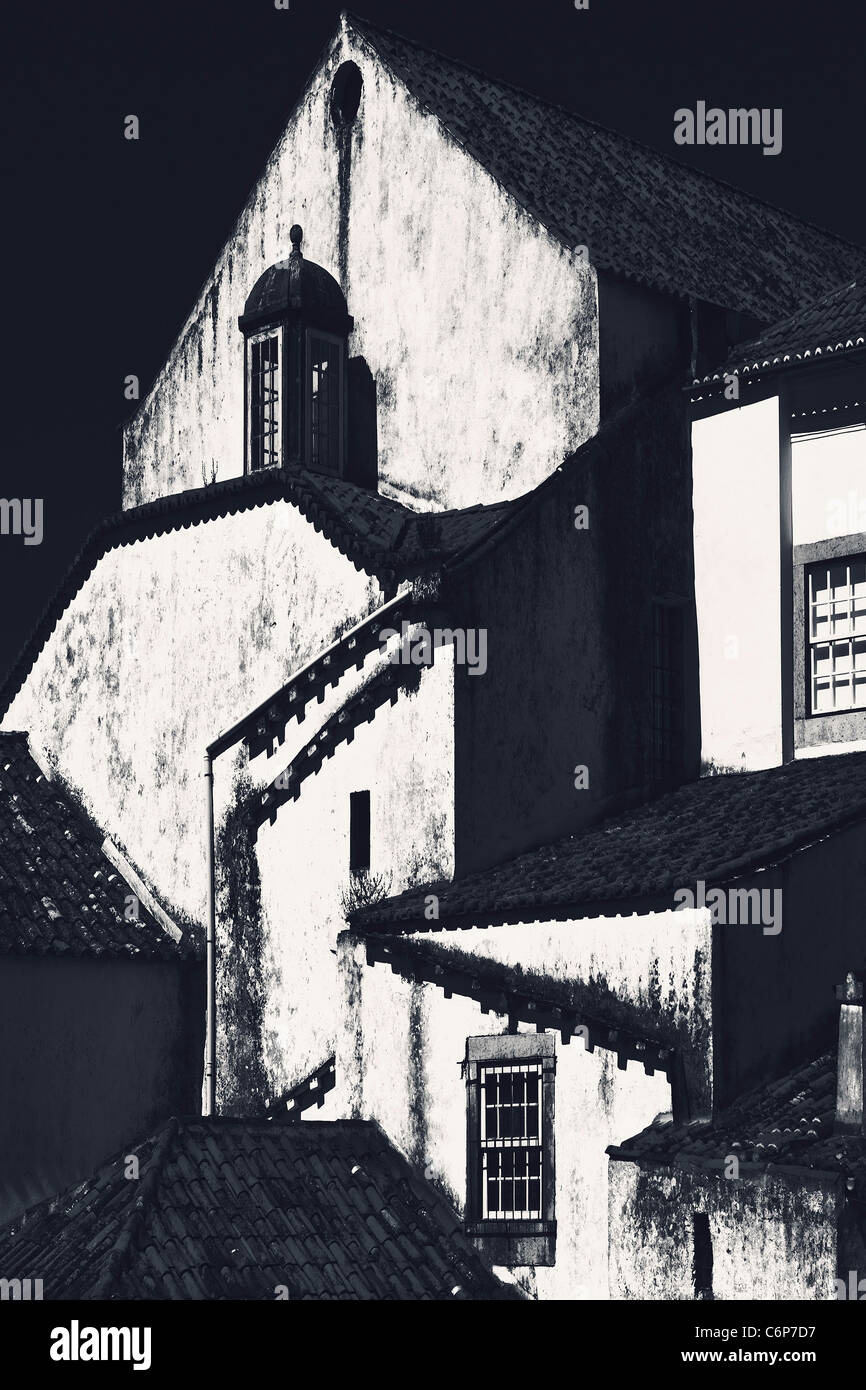 The roofs of the house in medieval city Obidos, Portugal Stock Photo