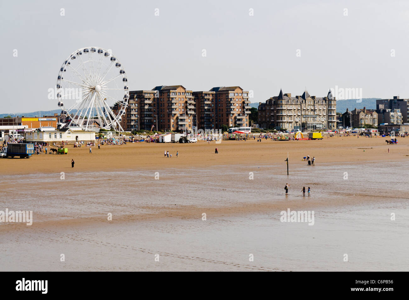 Large ferris wheel beside the beach in Weston Super Mare - Stock Image