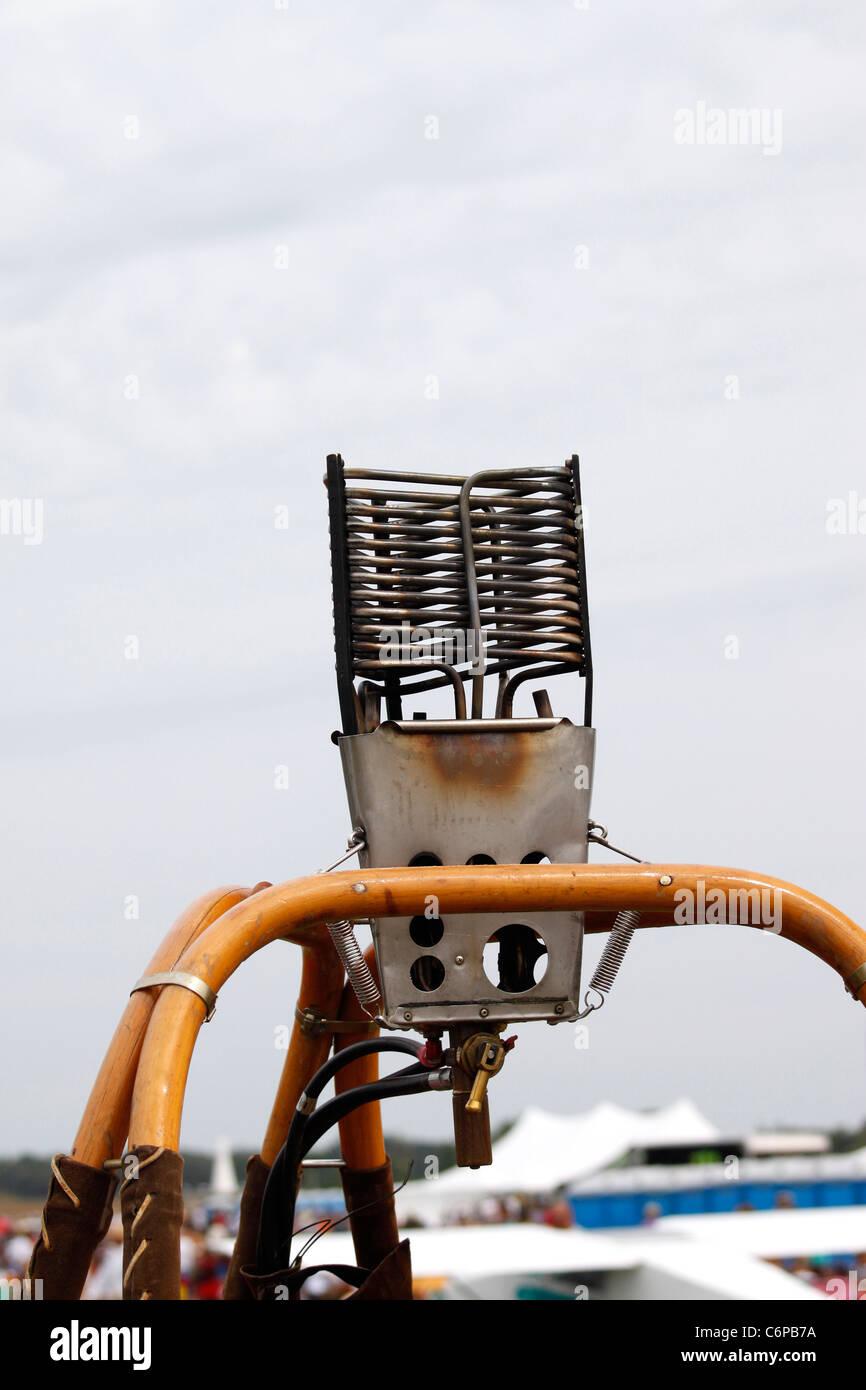 Burner on hot air balloon basket - Stock Image