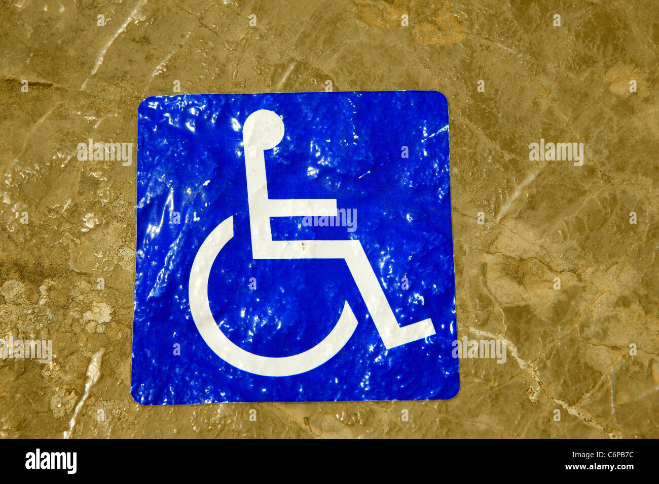 Disabled sign on marble background - Stock Image