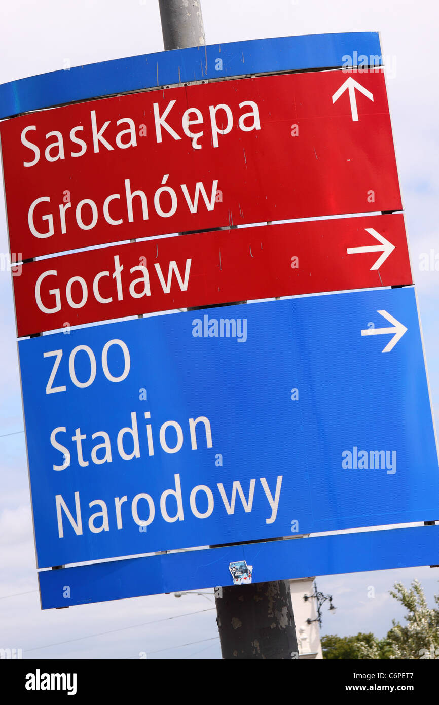 Warsaw Poland road sign to the Stadion Narodowy national stadium and Zoo - Stock Image