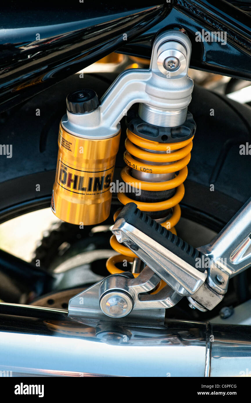 Yamaha FZ1 rear suspension. Shock absorbers. Sports Motorcycle detail - Stock Image