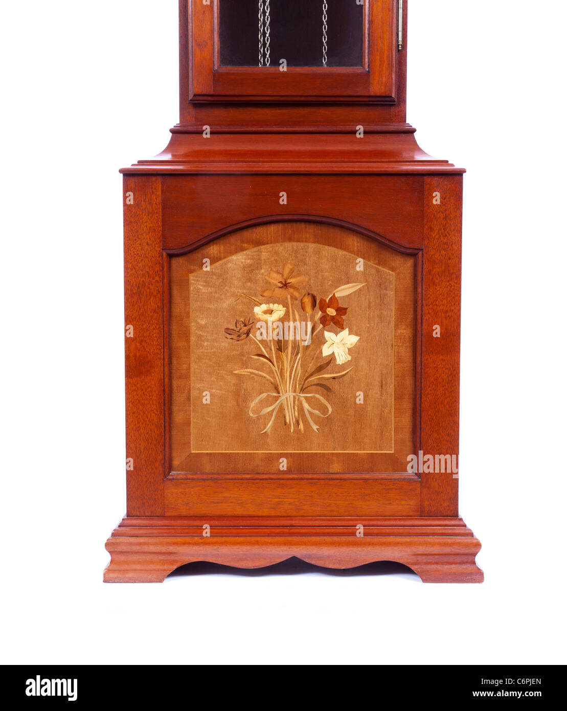marquetry marqueterie on replica long case clock / grandfather clock - Stock Image