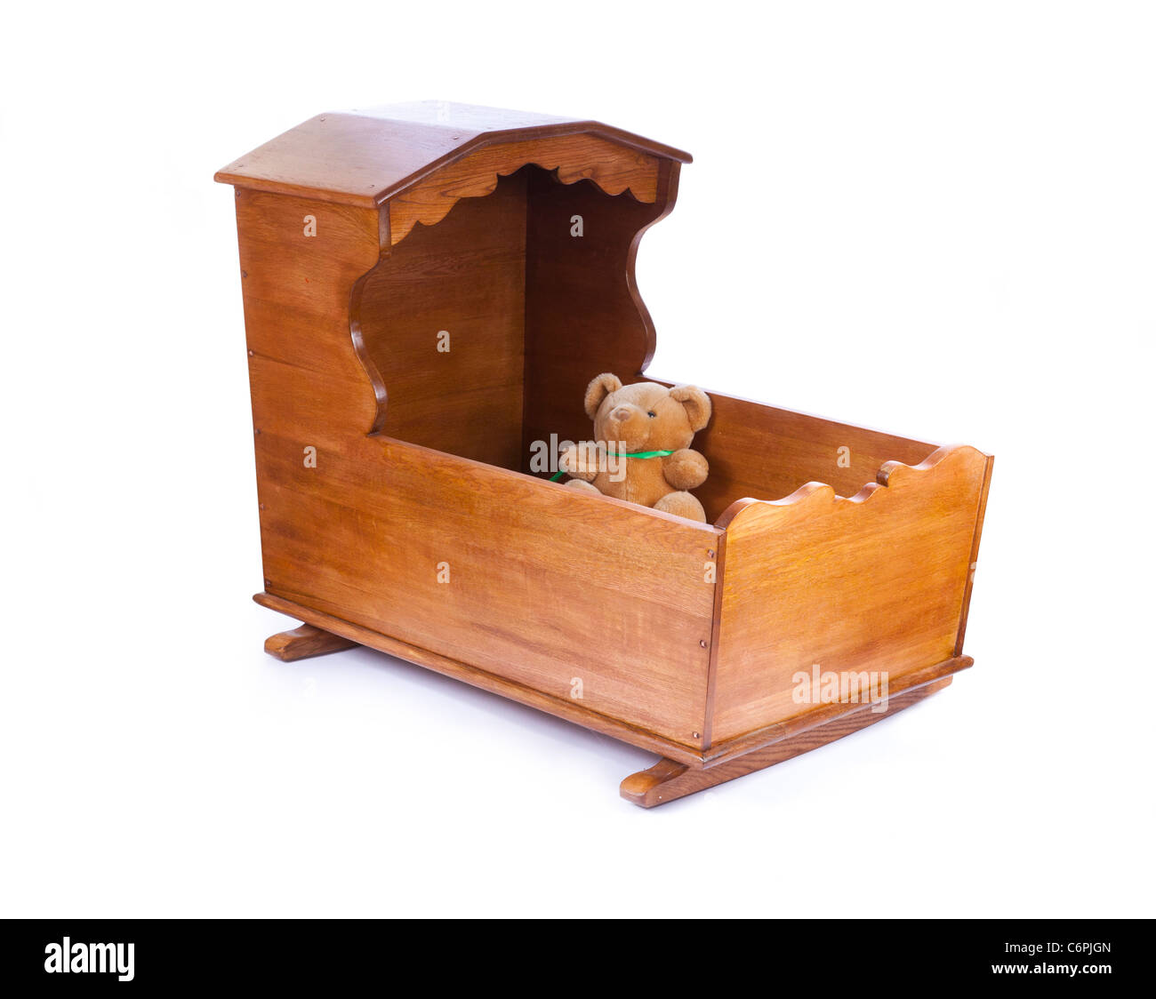 wooden crib cot - Stock Image