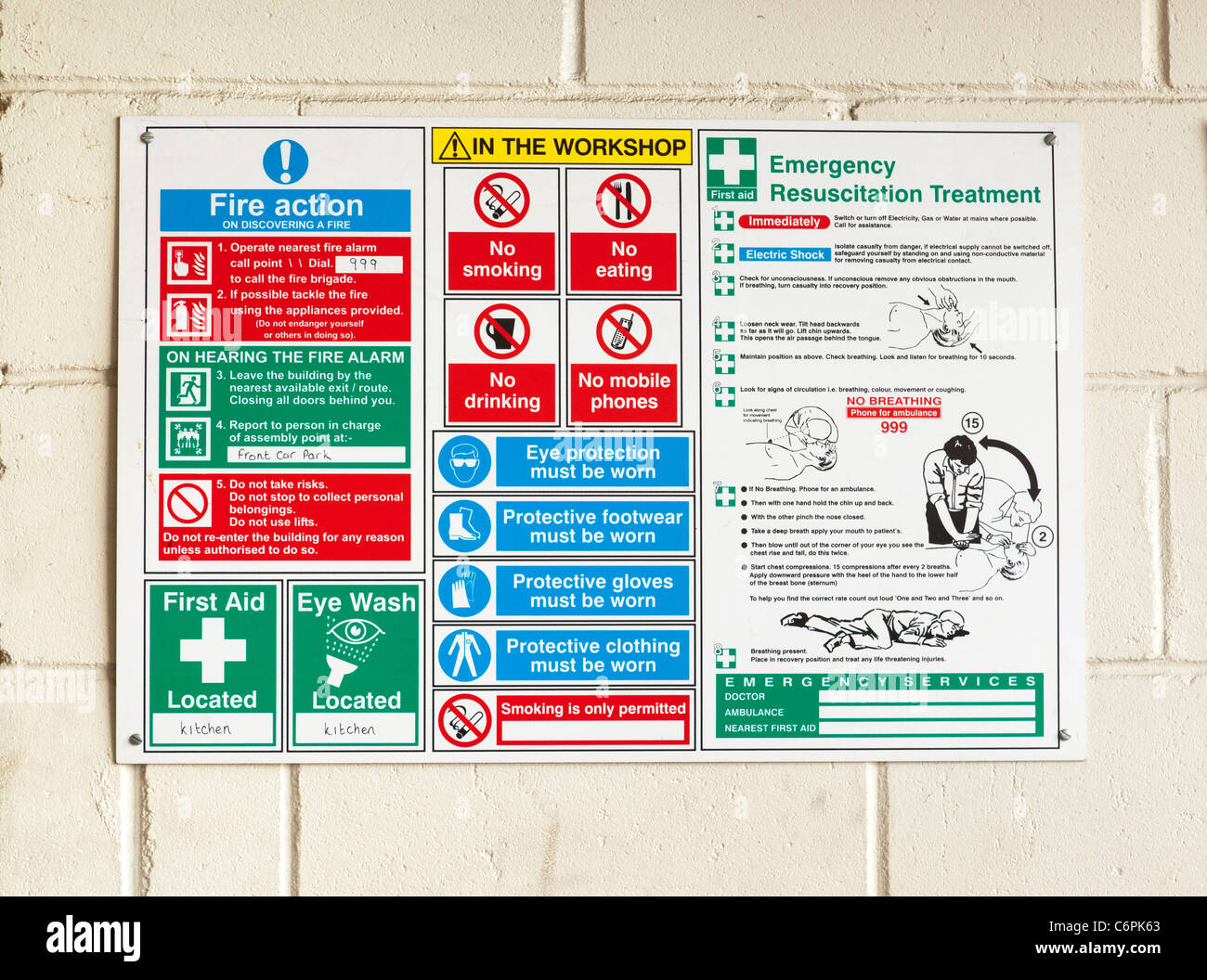 Health safety sign in a workshop factory in uk stock for De signs