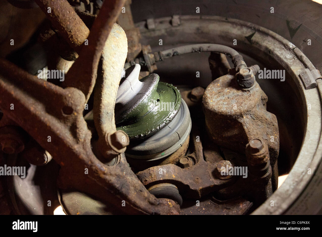 MOT failure, faulty rubber boot over the constant velocity joint - Stock Image