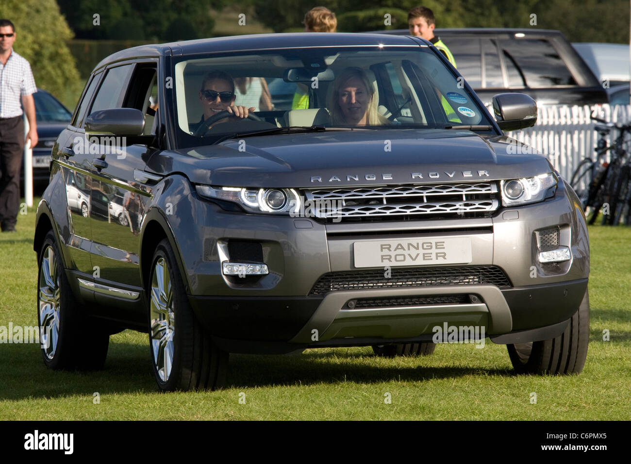 Zara Phillips takes delivery of a new Range Rover Evoke at The 2011 Land Rover Burghley Horse Trials,Stamford,Lincolnshire - Stock Image