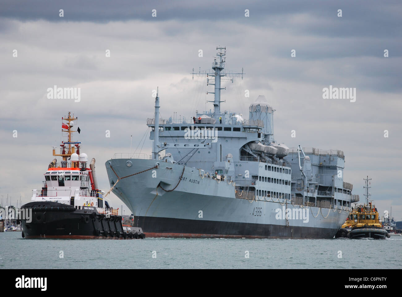 The Fleet Stores Ship of the Royal Fleet Auxiliary photographed leaving Portsmouth Dockyard to Merseyside for a - Stock Image