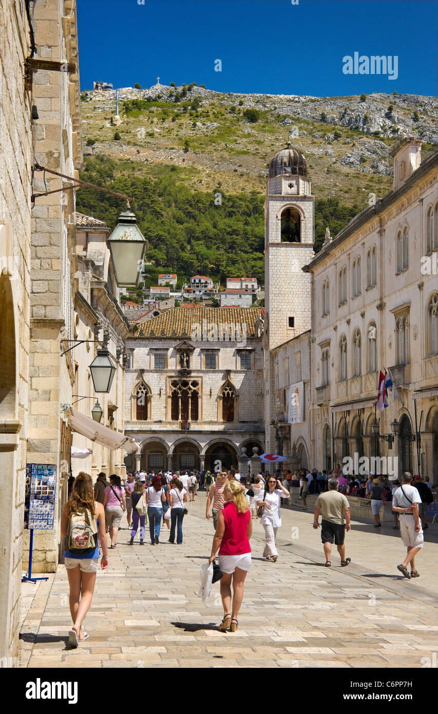 Placa,Bell tower,Main Street,Dubrovnik,Old Town,City,Croatia, - Stock Image