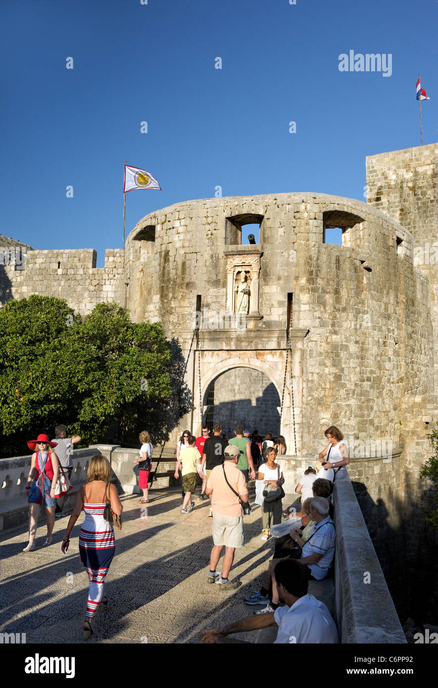 Pile Gate,St.Blaise,Dubrovnik ,city wall,old Town.Croatia.Main entrance to City. - Stock Image