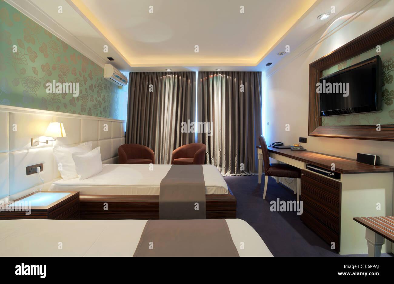 Modern Contemporary Interior Design interior of a hotel room with furniture, modern contemporary